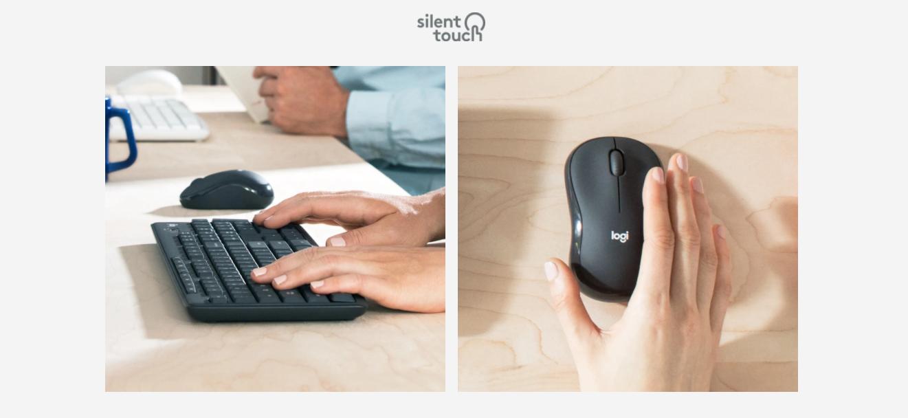 Bộ bàn phím + chuột không dây Logitech MK295 màu đen (USB/SilentTouch) trang bị công nghệ giảm tiếng ồn hiệu quả