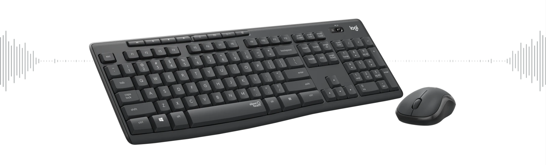 Giới thiệu Bộ bàn phím + chuột không dây Logitech MK295 màu đen (USB/SilentTouch)