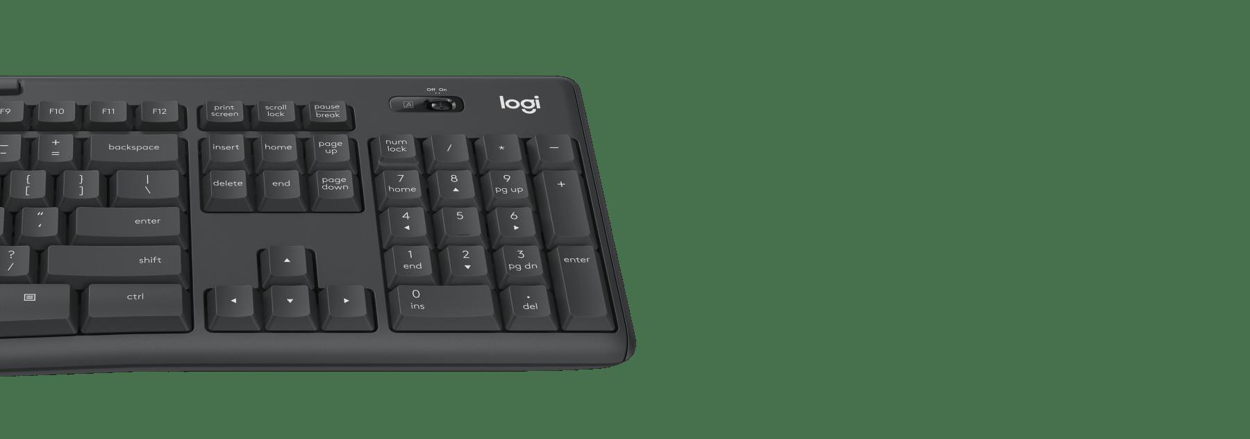 Bàn phím của Bộ bàn phím + chuột không dây Logitech MK295 màu đen (USB/SilentTouch) có kích thước đầy đủ