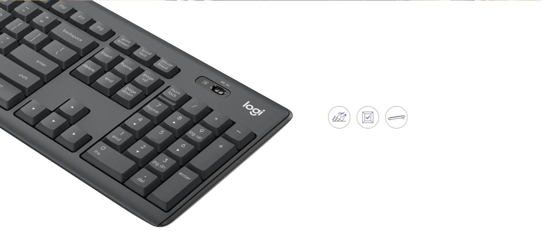 Bộ bàn phím + chuột không dây Logitech MK295 màu đen (USB/SilentTouch) có thiết kế bền bỉ