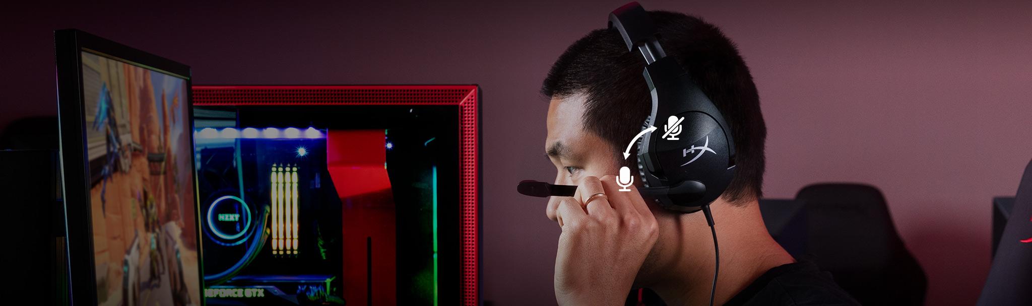 Micro của Tai nghe Kingston HyperX Cloud Stinger S_HHSS1S-AA-BK/G có thể gập để tắt tiếng