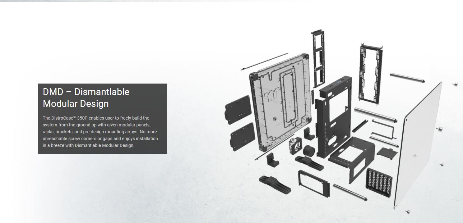 Vỏ Case Thermaltake DistroCase 350P Mid Tower Chassis với các thành phần hoàn toàn có thể tháo rời