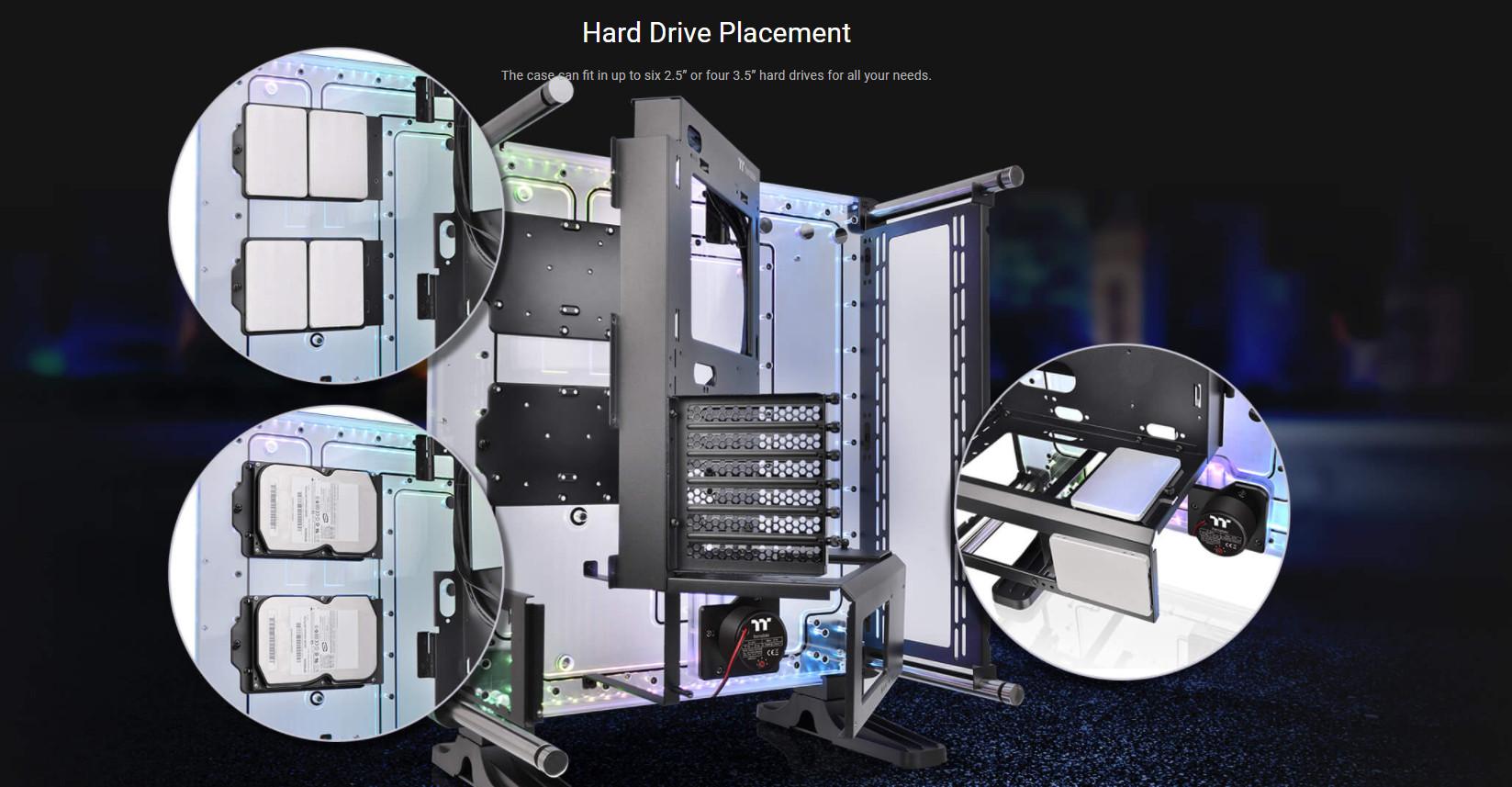 Vỏ Case Thermaltake DistroCase 350P Mid Tower Chassis có khả năng hỗ trợ ổ cứng đa dạng
