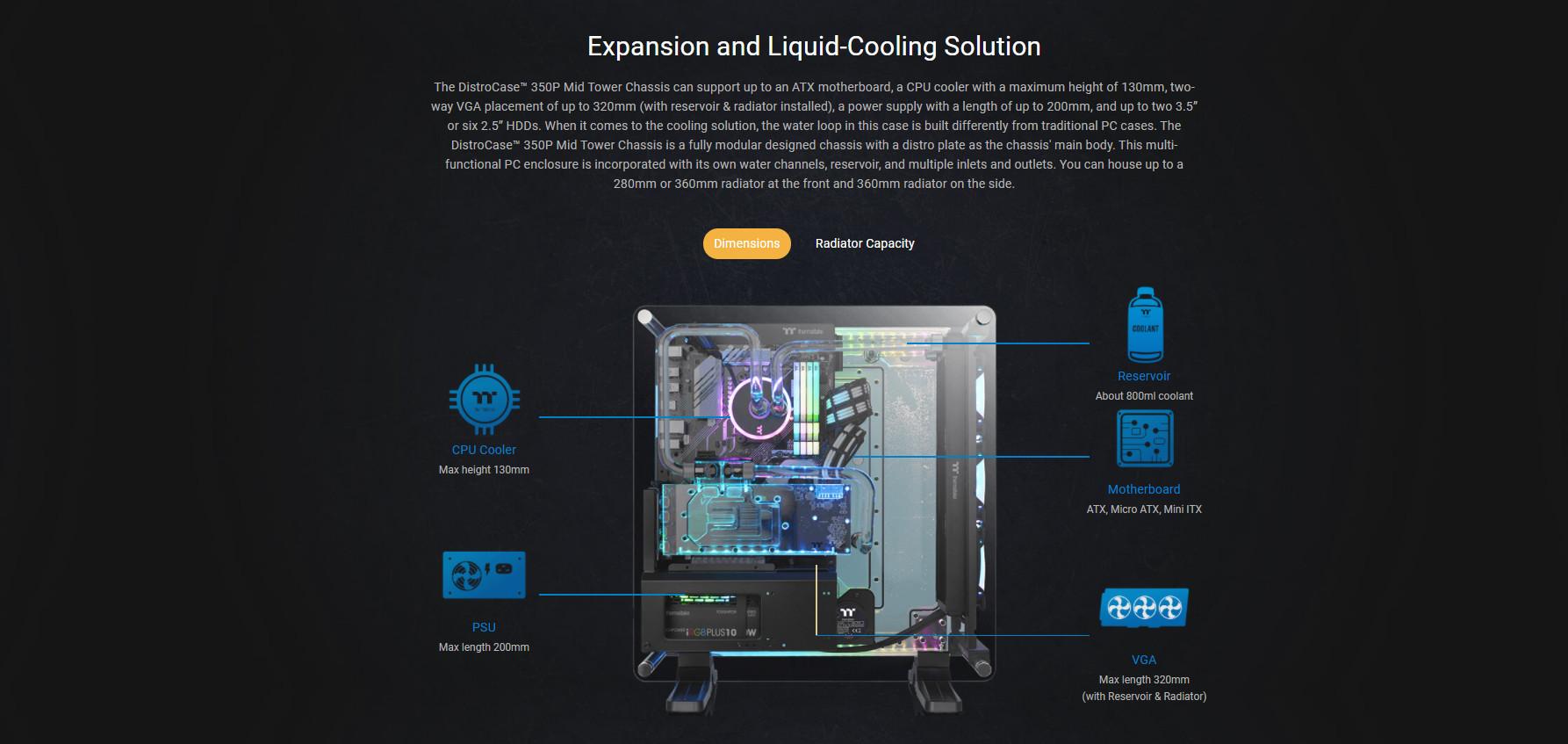 Vỏ Case Thermaltake DistroCase 350P Mid Tower Chassis có khả năng hỗ trợ tản nhiệt nước tối đa