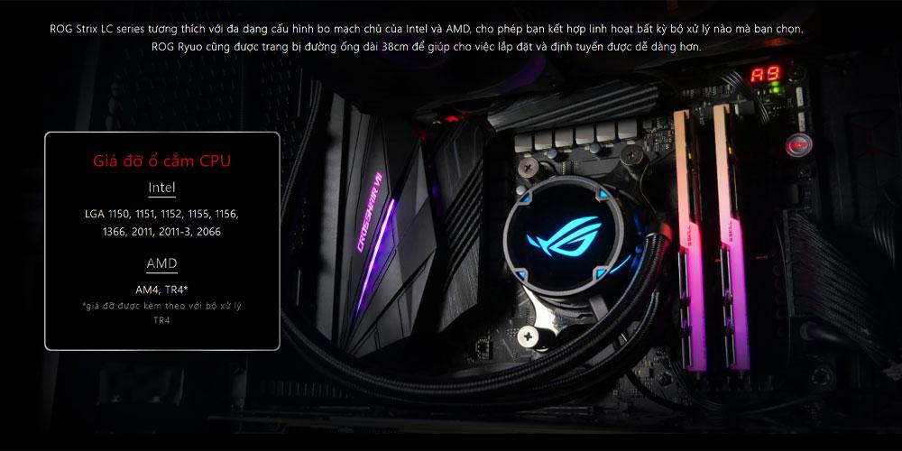 Tản nhiệt nước Asus ROG STRIX LC 240 RGB với khả năng tương thích đa dạng