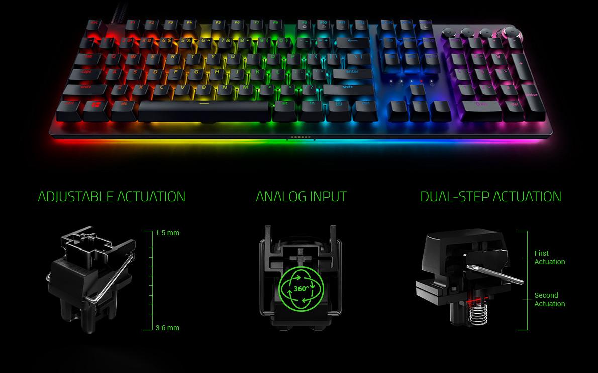 Bàn phím Razer Huntsman V2 Analog (USB/RGB/Đen)(RZ03-03610100-R3M1)  sử dụng switch Razer với tín  hiệu analog cao cấp