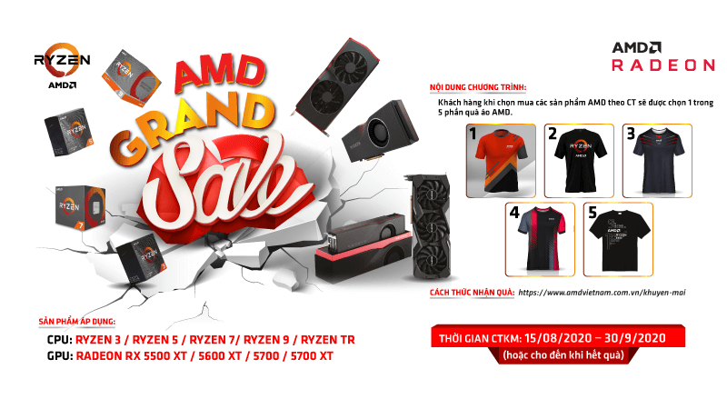 """Chương trình Khuyến mãi """"AMD Grand Sales"""" - Tặng áo AMD cực CHẤT"""