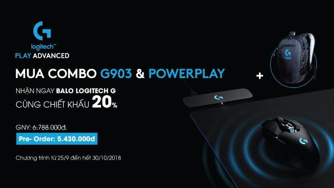 ĐẶT TRƯỚC COMBO LOGITECH G903 + LOGITECH G POWERPLAY GIẢM GIÁ 20% & TẶNG BALO CỰC CHẤT