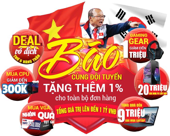 Giảm 1% giá trị đơn hàng - Bão cùng đội tuyển Việt Nam