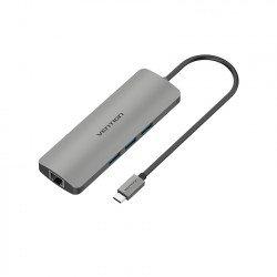 Giắc chuyển đổi từ Type C sang Type C Charging + HDMI 4K + LAN + 2*USB 3.0 Vention CMAHA