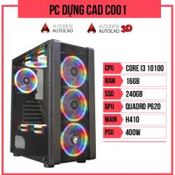 PC Dựng CAD C001 (i3-10100/H410/16GB RAM/Quadro P620/240GB SSD/400w)