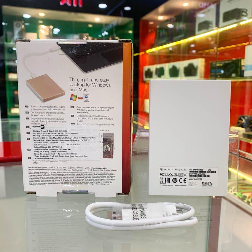 Ổ Cứng Di Động 2.5 inch Seagate Backup Plus Slim Portable Drive 2TB GOLD