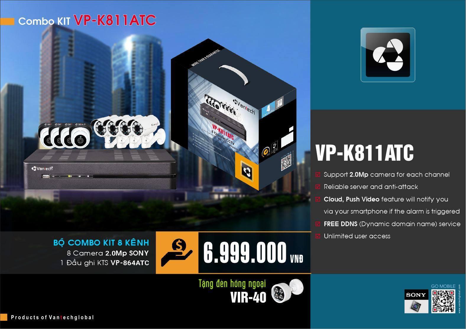 Bộ kit Camera Vantech 8 kênh VP-K811A/T/C