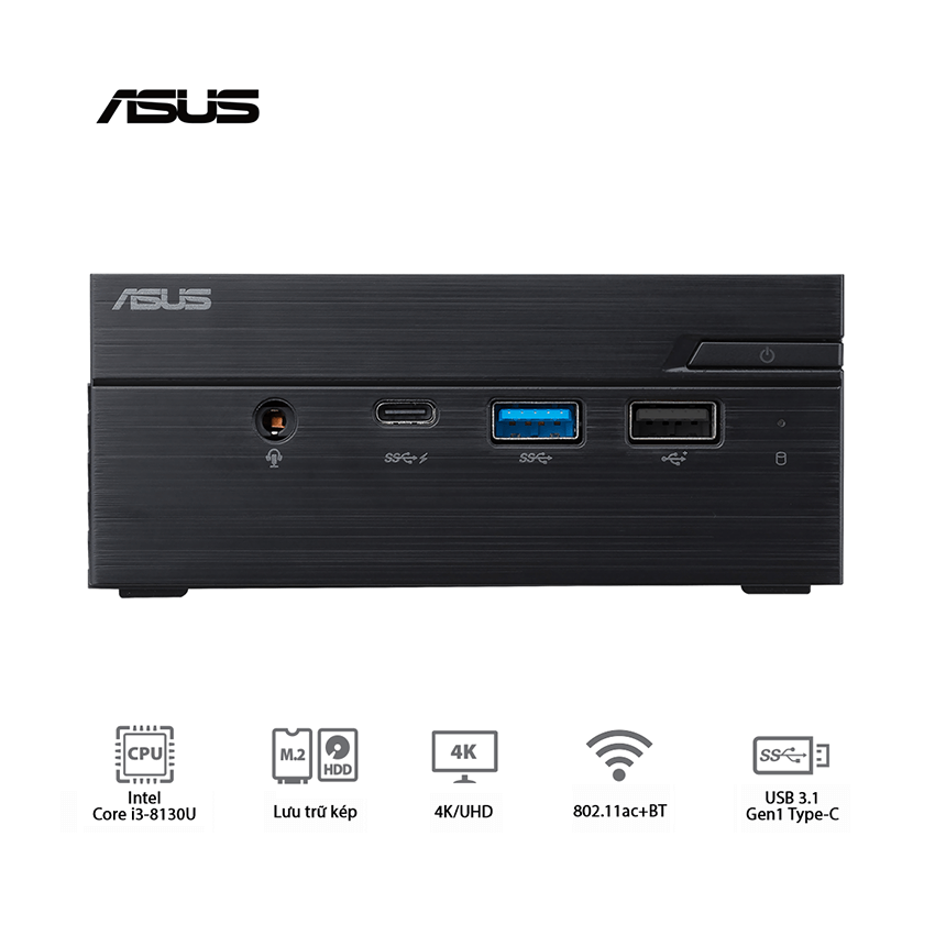 Mini PC Asus PN60 (i3-8130U/WL/Vesa Mount/Com Port/Đen) (BB3016MC)