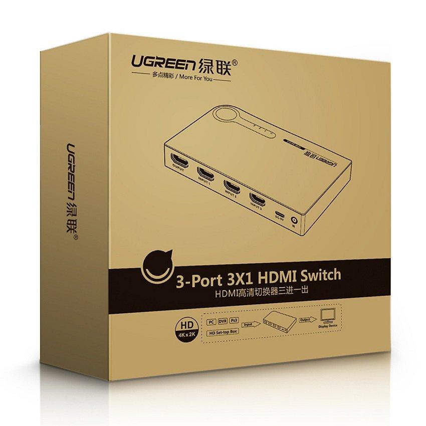Bộ gộp HDMI 3 vào 1 ra Ugreen 40234 - Hỗ trợ full HD, 3D màu đen