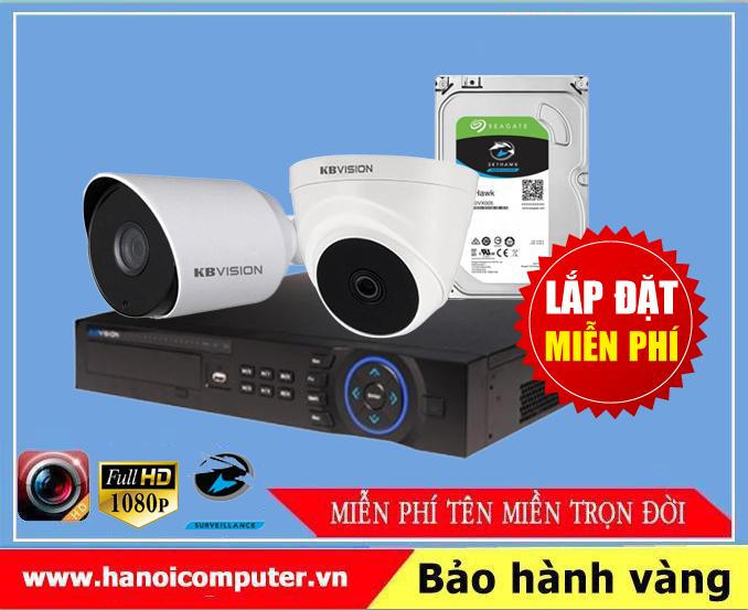 Bộ kit 02 Camera KBvision (KX-2100CB4 / KX-7104SD6 / Seagate Skyhawk 1TB / DC / Dây)