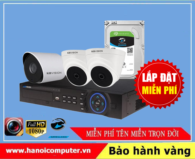 Bộ kit 03 Camera KBvision (KX-2100CB4/KX-7104SD6/Seagate Skyhawk 1TB/DC/Dây)