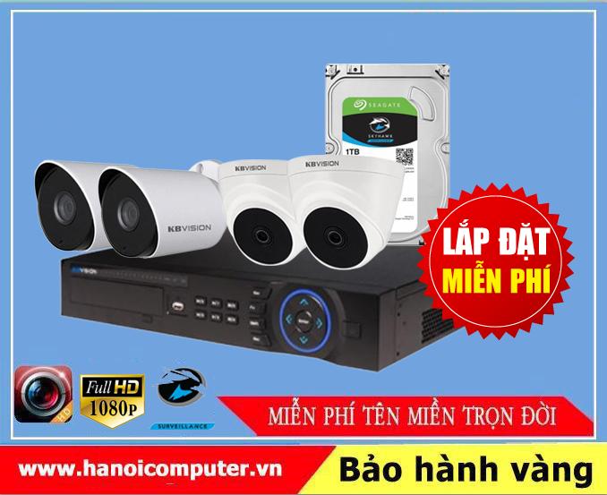Bộ kit 04 Camera KBvision (KX-2100CB4 / KX-7104SD6 / Seagate Skyhawk 1TB / DC / Dây)