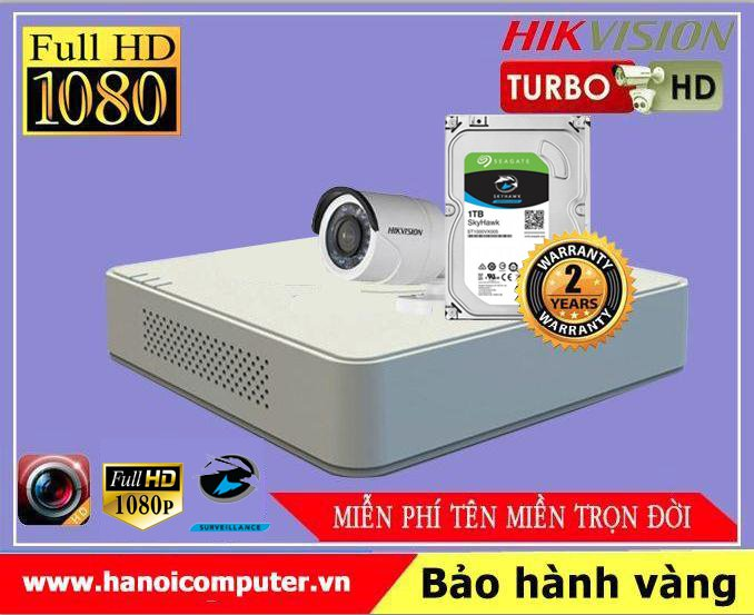 Bộ kit 01 Camera Hikvision FullHD (DS-2CE16D0T-IRP / DS-7104HQHI-K1 / Seagate Skyhawk 1TB / DC / Dây)