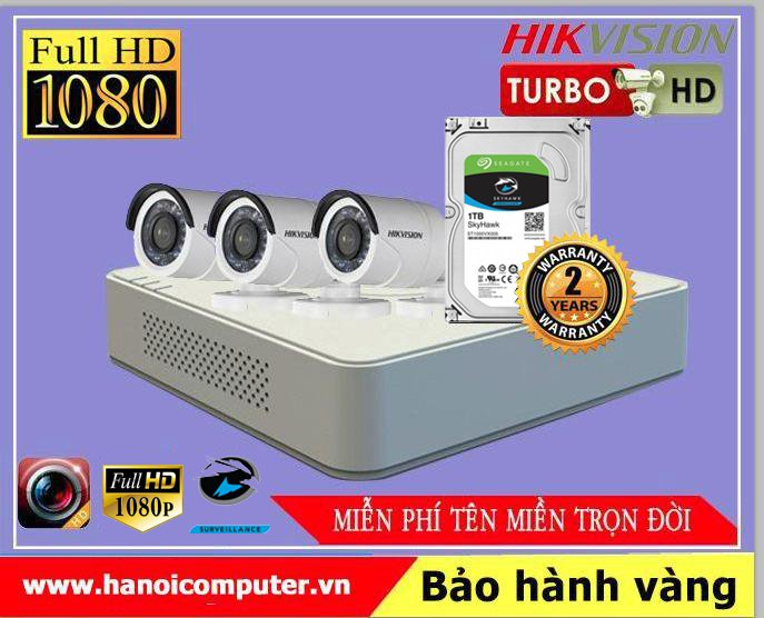 Bộ kit 03 Camera Hikvision FullHD (DS-2CE16D0T-IRP / DS-2CE56D0T-IR/ DS-7104HQHI-K1 / Seagate Skyhawk 1TB / DC / Dây)