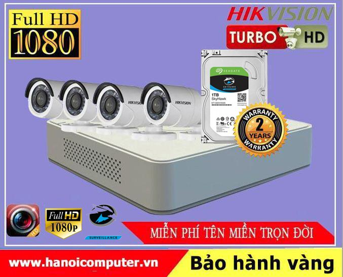 Bộ kit 04 Camera Hikvision FullHD (DS-2CE16D0T-IRP / DS-2CE56D0T-IR/ DS-7104HQHI-K1 / Seagate Skyhawk 1TB / DC / Dây)