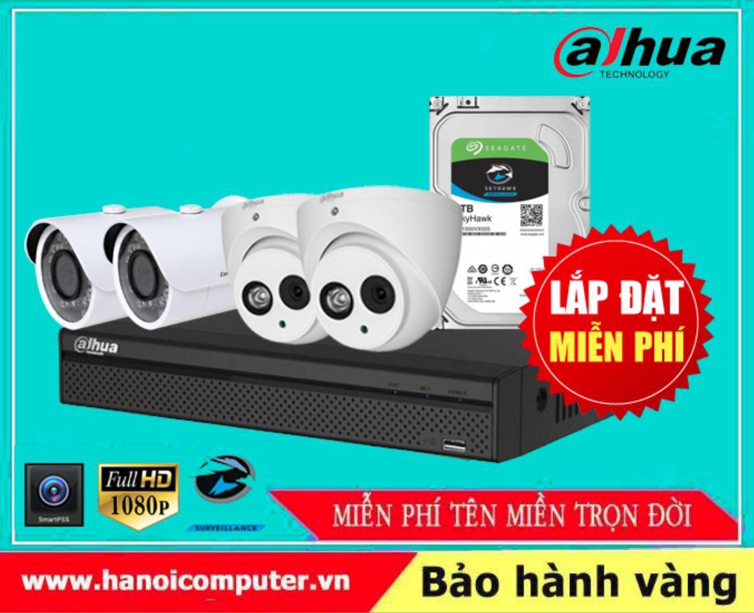 Bộ kit 04 Camera DAHUA FullHD Tích hợp Míc ghi âm (HDW1800EMP-A-S6/DH-HAC-HFW1200SP/XVR5104HS-X1/Seagate Skyhawk 1TB / DC / Dây)