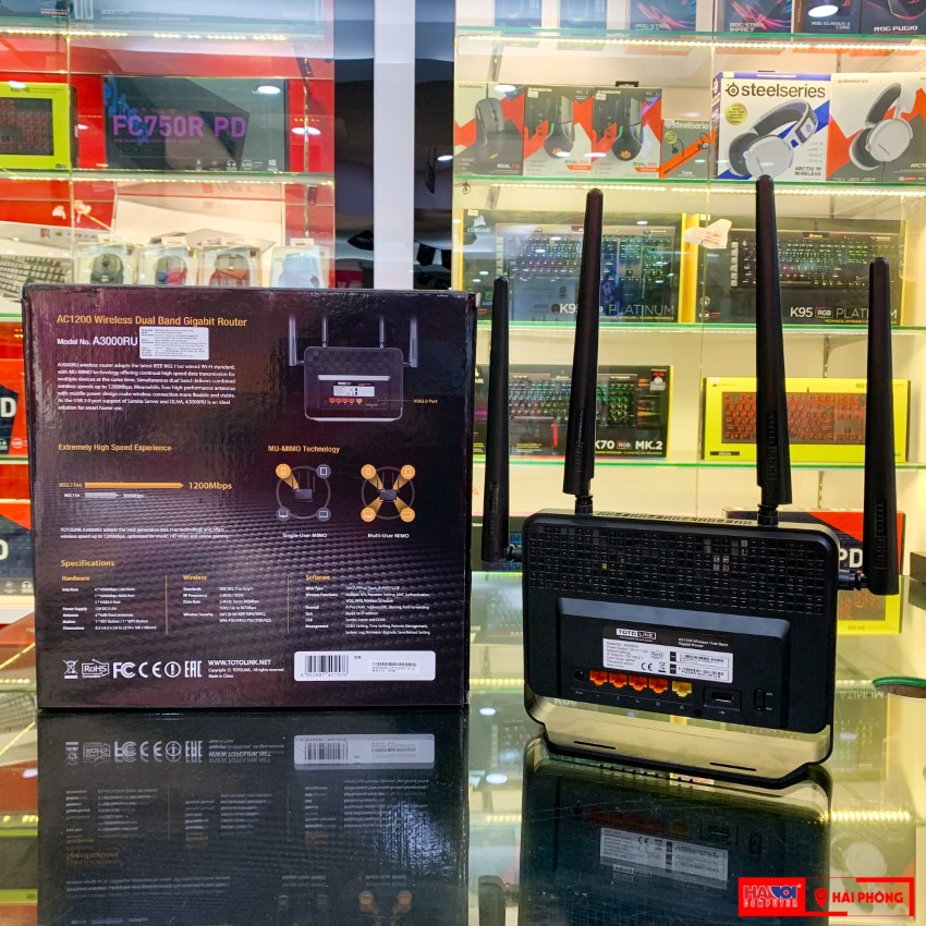 Bộ phát wifi Totolink A3000RU băng tần kép Gigabit AC1200