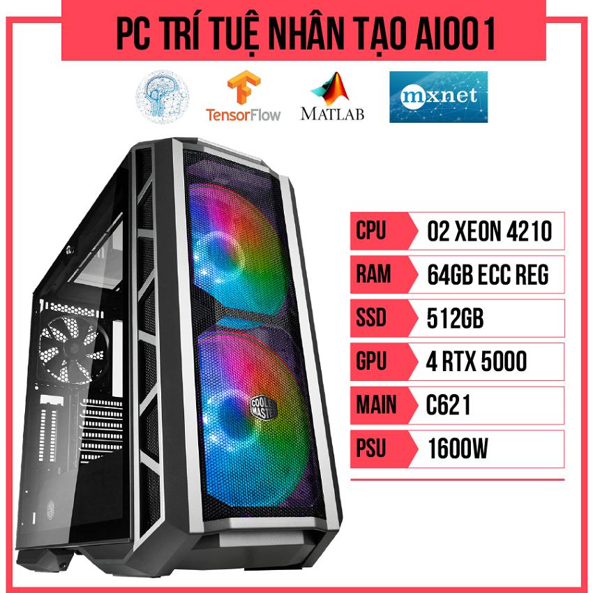 PC Trí tuệ nhân tạo AI001 (Dual Xeon 4210/C621/64GB RAM/512GB SSD/Quadro RTX5000 x4/1600W)