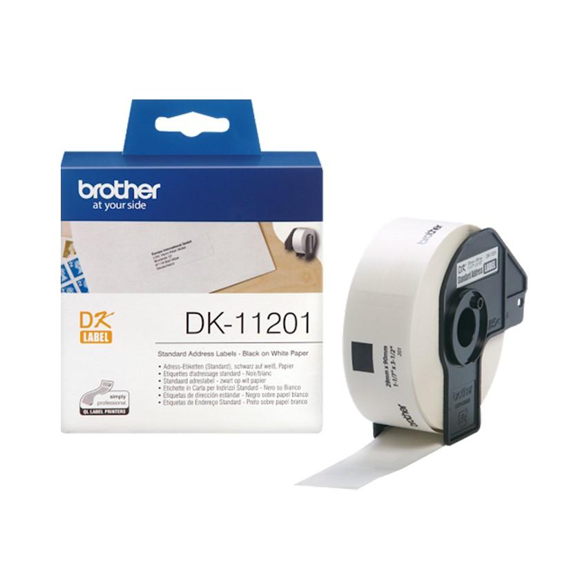 Giấy in nhãn Brother DK-11201, 29mm x 90mm, Chữ Đen Nền Trắng