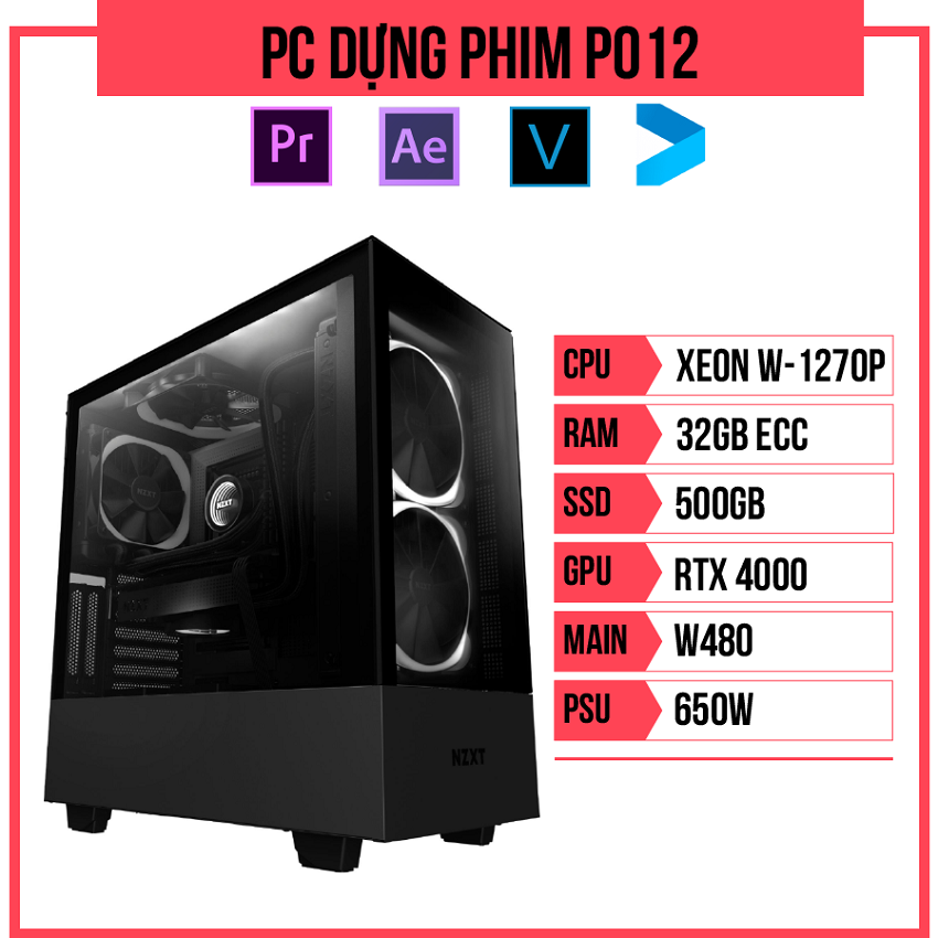 PC Dựng phim P012 (W-1270P/W480/32GB RAM/Quadro RTX 4000/500GB SSD/650w)