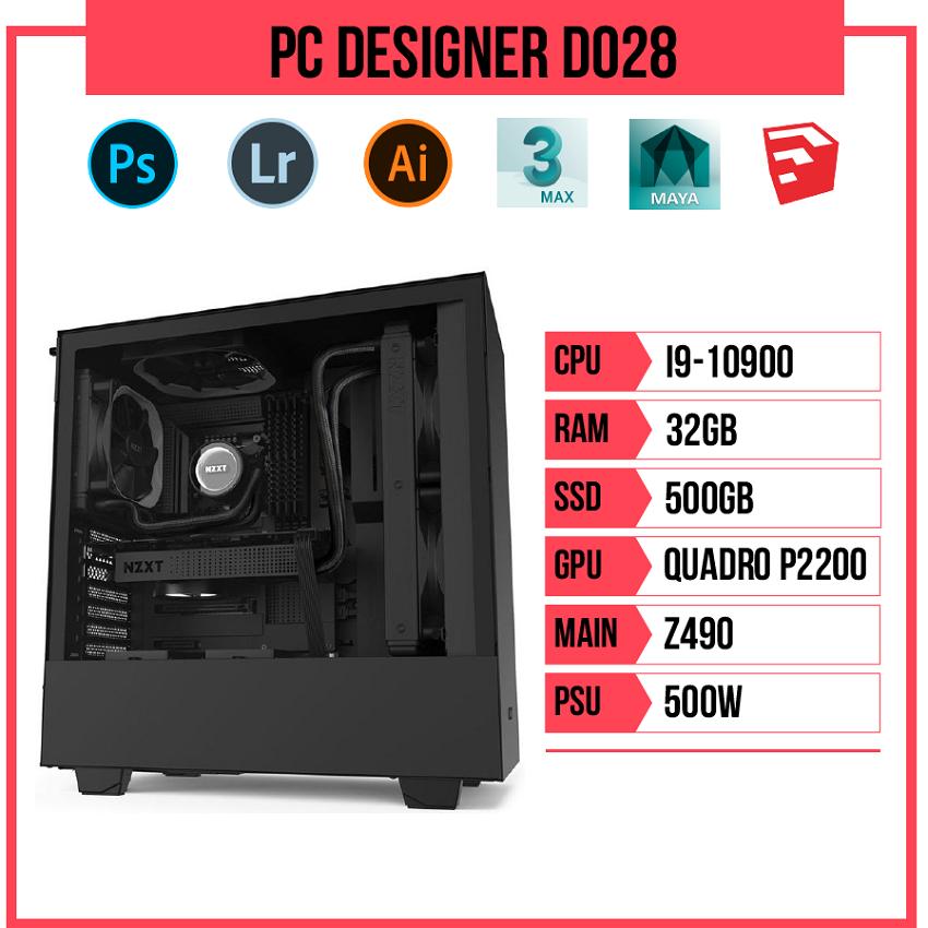 PC Designer D028 (i9-10900/Z490/32GB RAM/Quadro P2200/500GB SSD/500w)
