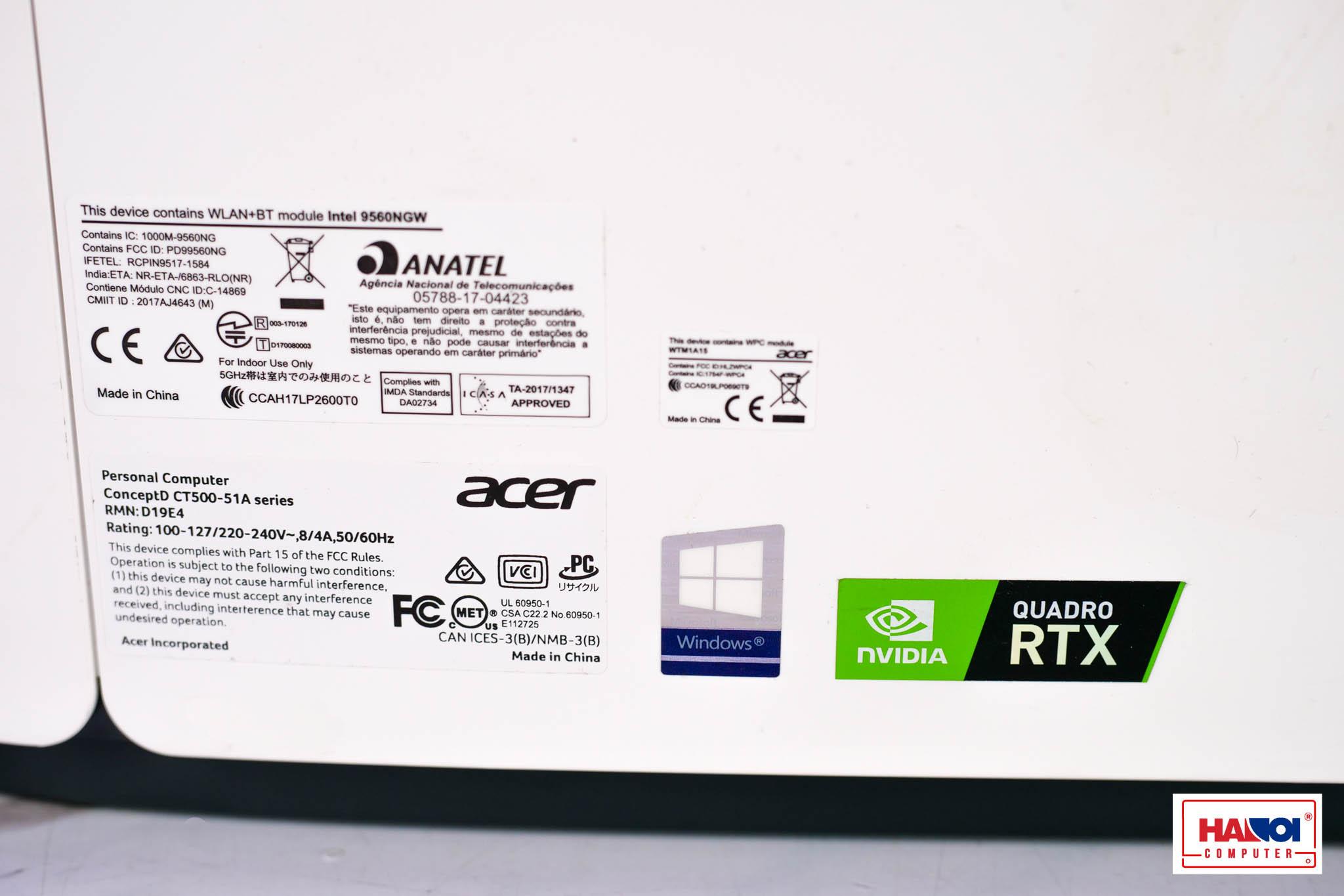 Workstation ConceptD 500 CT500-51A (i9-9900K/64GB(4x16GB)/1024GB M.2 PCIE SSD/Quadro RTX4000/Win 10 Pro) (DT.C03SV.00B)