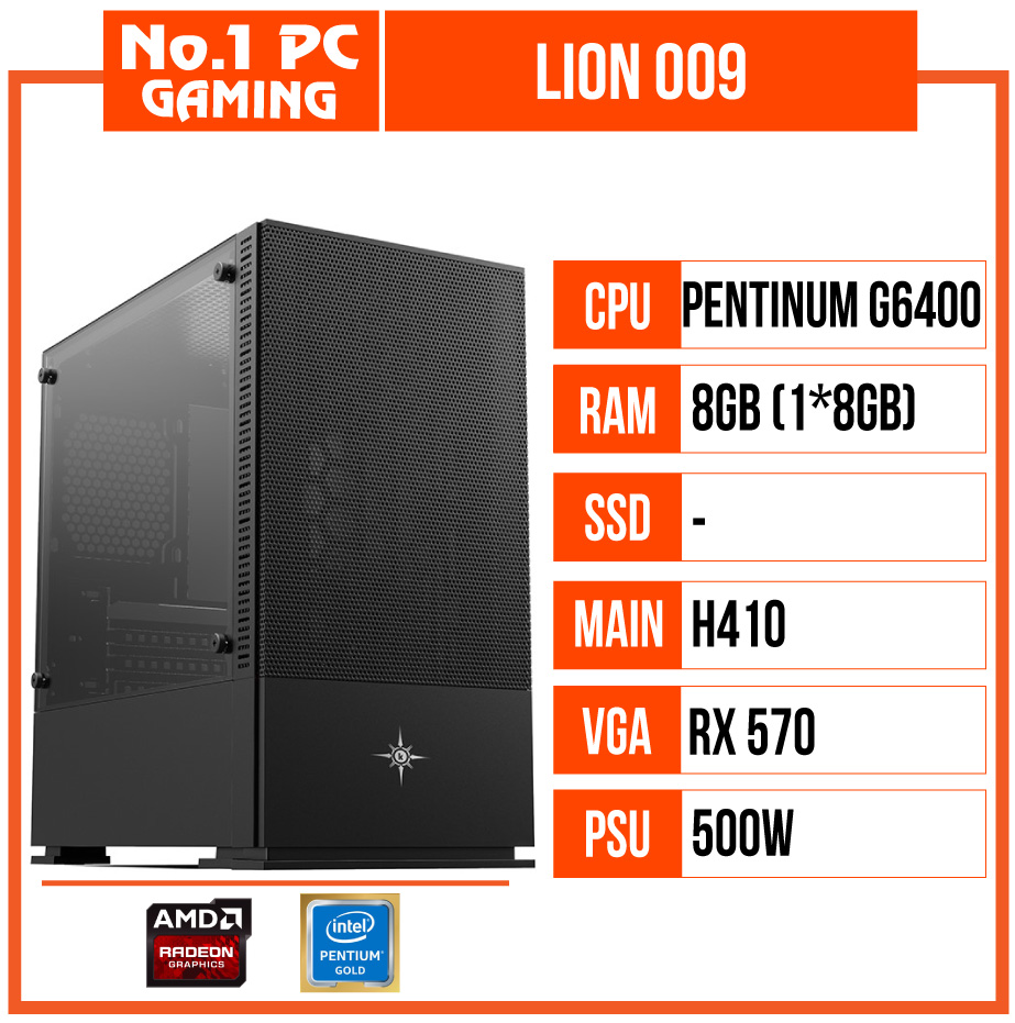 PC GAMING LION 009 (G6400/H410/8GB RAM/RX 570/500W)