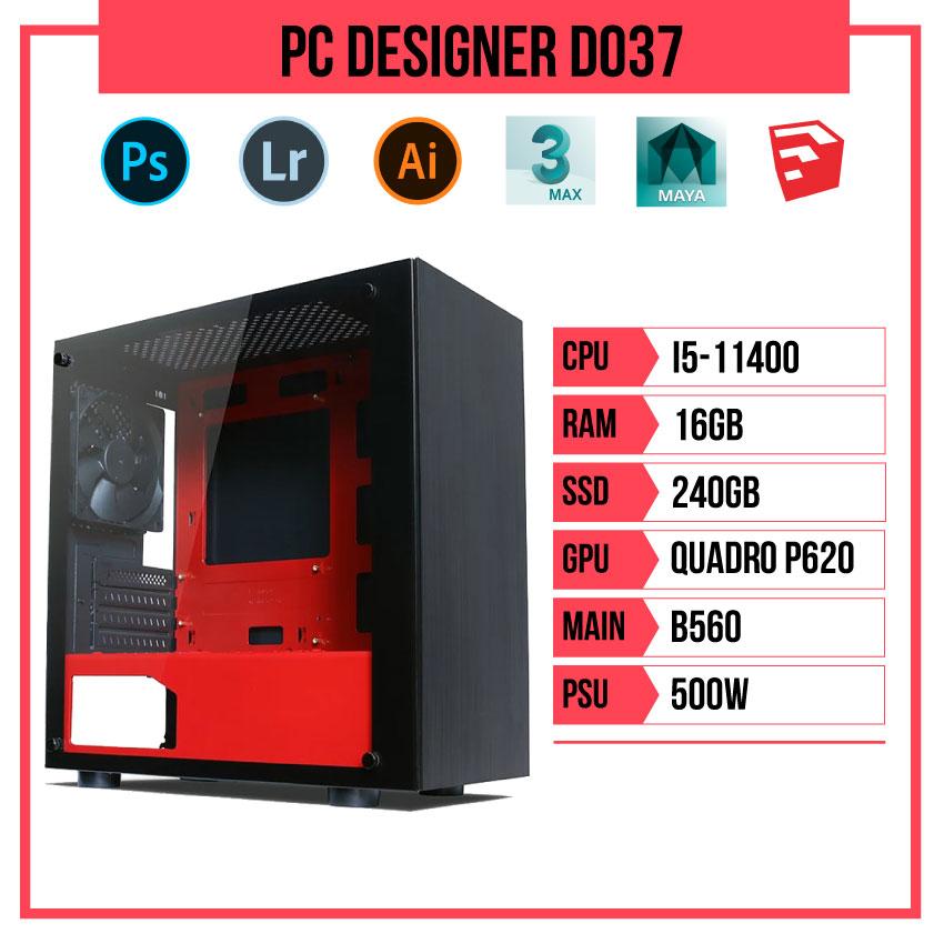 PC HACOM Designer D037 (i5-11400/B560/16GB RAM/240GB SSD/Quadro P620/500W)