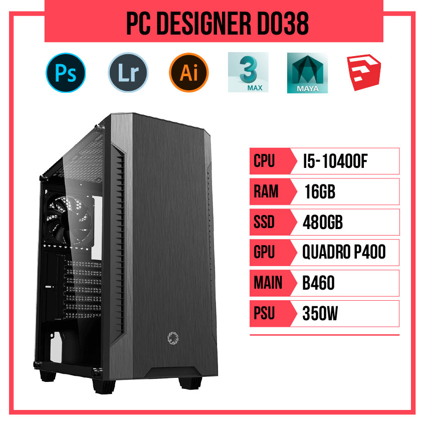 PC HACOM Designer D038 (i5-10400F/B460/16GB RAM/240GB SSD/Quadro P400/350W)