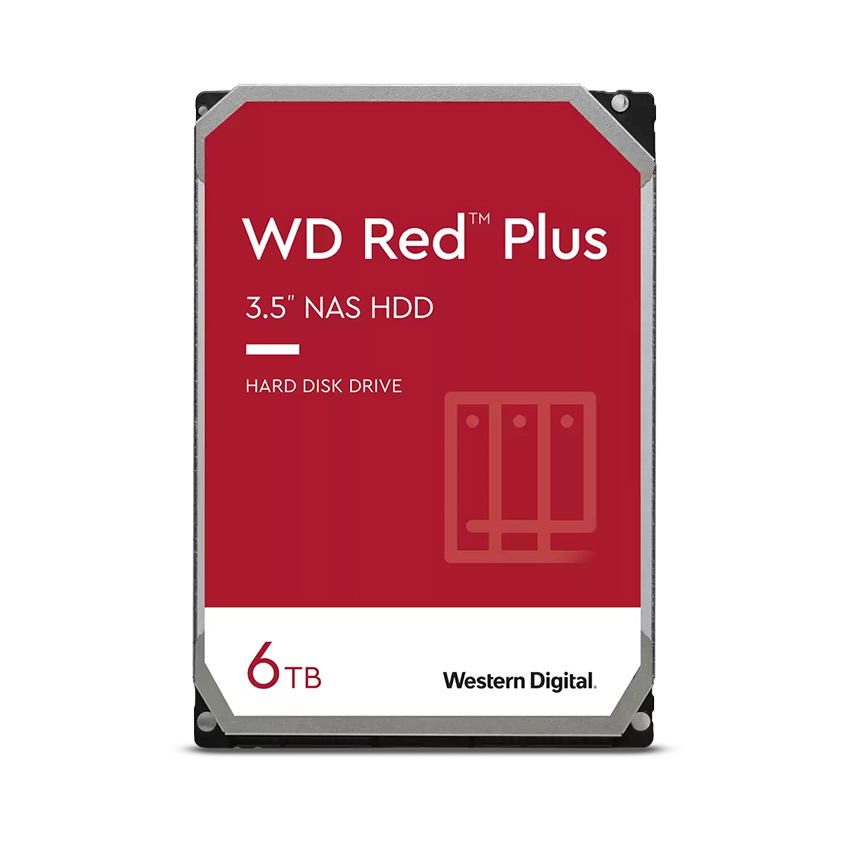 Ổ cứng HDD WD 6TB Red Plus 3.5 inch, 5640RPM, SATA3, 128MB Cache (WD60EFZX)